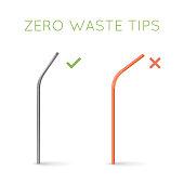 Reusable steel drinking straw instead of plastic straw. Zero waste tips. Eco lifestyle.