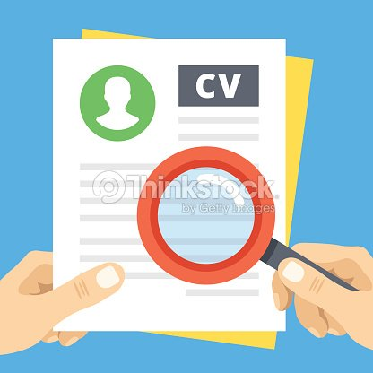 cv review flat illustration hand with magnifier over curriculum vitae vector art