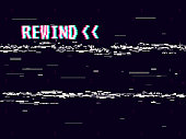 Rewind glitch background. Retro VHS template for design. Glitched lines noise. Pixel art 8 bit style. Vector illustration.