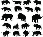 A set of rhino or rhinoceros animal Silhouettes