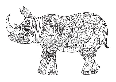 Rhino Coloring Page Vector Art | Thinkstock