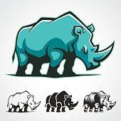 Rhinoceros vector cartoon symbol.