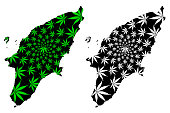 Rhodes - map is designed cannabis leaf green and black, Rhodes island map made of marijuana (marihuana,THC) foliage,