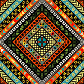Rhomboid colorful background with ethnic motifs