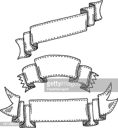 Ribbon Banner Set Drawing Vector Art | Getty Images