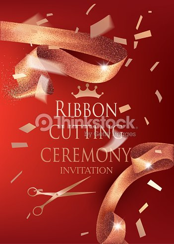 Ribbon cutting ceremony invitation card with sparkling gold curly ribbon cutting ceremony invitation card with sparkling gold curly cut elegant ribbon and gold confetti stopboris Image collections