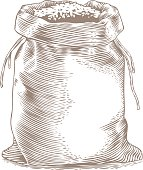 Drawing of the sack with the rice on the white