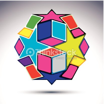 Rich 3d Abstract Figure Constructed From Geometric Elements