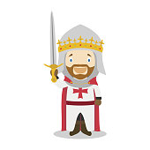 Richard I of England The Lionheart cartoon character. Vector Illustration. Kids History Collection.