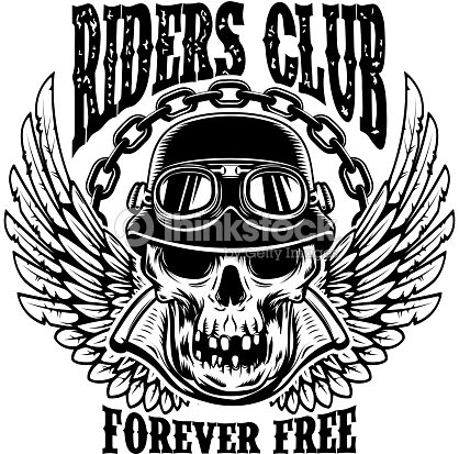 5baf44dc Riders club. Emblem template with biker skull and wings. Design element for  poster, card, t shirt.