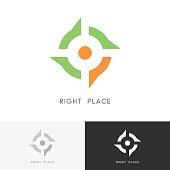 Right place - address mark and target symbol. Position, location and destination vector icon.