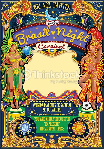 rio carnival poster template brazil carnaval mask show parade