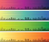 Rio de Janeiro Multiple Color Gradient Skyline Banner