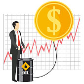 Rise of oil prices concept vector illustration. Businessman pumping oil, growth graph, golden coin with dollar sign.