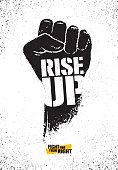 Rise Up. Fight For Your Right Motivation Poster Illustration Concept. Rough Vector Fist Illustration Design On Textured Background.