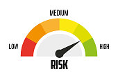 Risk concept on speedometer. Vector icon