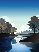 river in deep forest at noon.vector