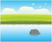 The Calm river with clean water.Vector illustration