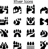 River, Lake , canal nature icons set