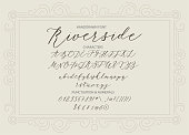 Riverside - handwritten Script font. Hand drawn brush style modern calligraphy cursive typeface. Vector Brush type set.