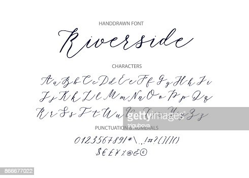 Riverside - handwritten Script font : stock vector