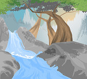 Beautiful river,waterfall scene vector and mountain nature landscape background.Gradients used,illustration is an eps10 file and contains transparency effects.Digital illustration created without refe