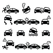Driver crushing car on road, auto wreck icons set isolated on white