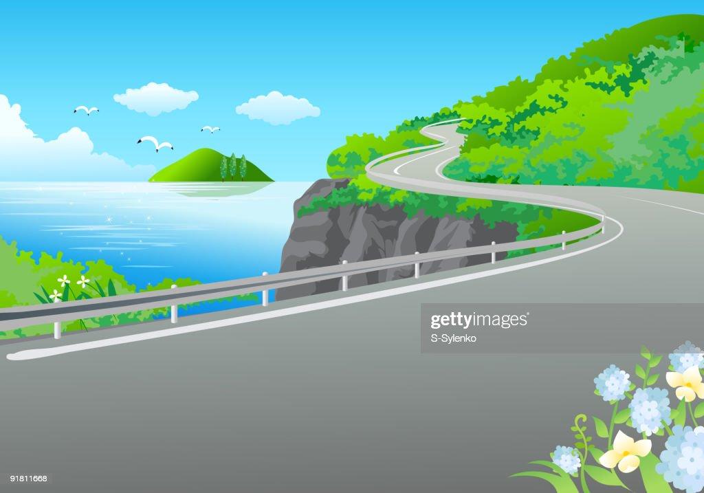 Дорога и море рисунок