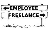 Vector drawing of employee or freelance decision road block arrow sign.