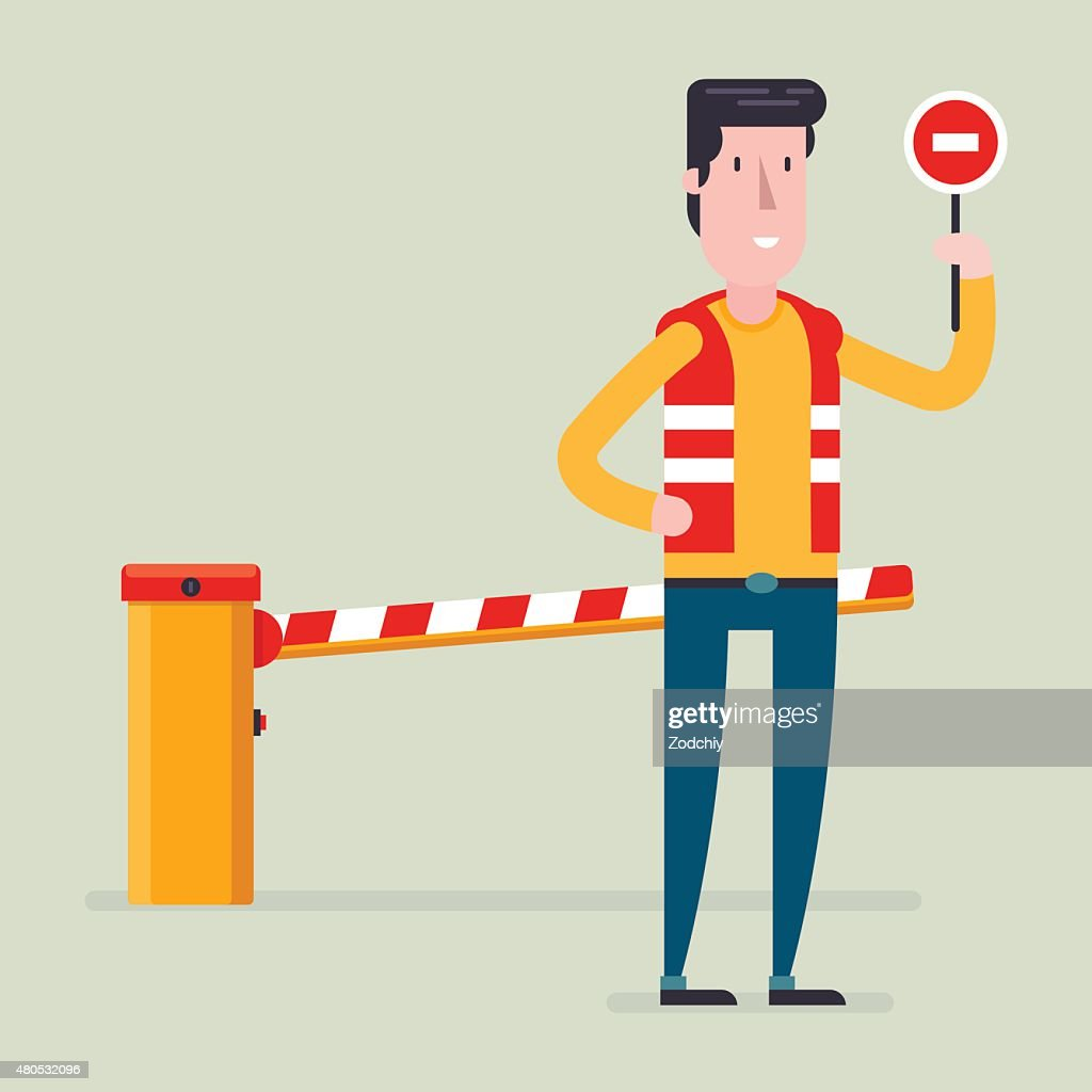 Road classical  barrier sign with the worker : Vector Art