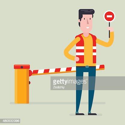 Route classique avec barrière panneau avec le travailleur : Clipart vectoriel