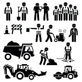 A set of pictogram representing road construction with workers and engineers working as a team. This sets include cone, barriers, truck, bulldozer, road roller, jackhammer, and other road construction