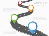 Road infographic template with colorful pin pointer