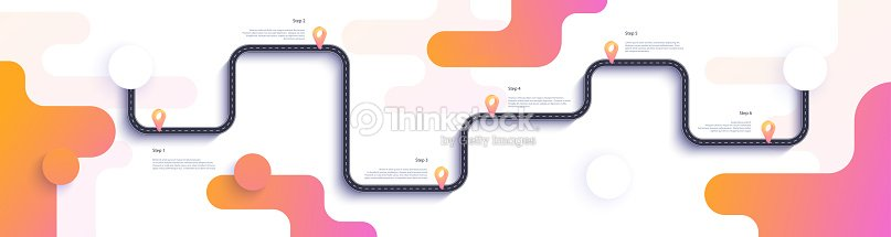 road map and journey route infographics template winding road timeline illustration vector art