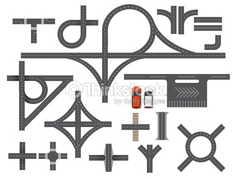 Road Map Design Element Set Top View Vector Elementspart Of Road