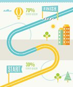 Road or Track Map Infographics Vector Template