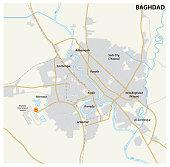 Road map of the Iraqi capital Baghdad