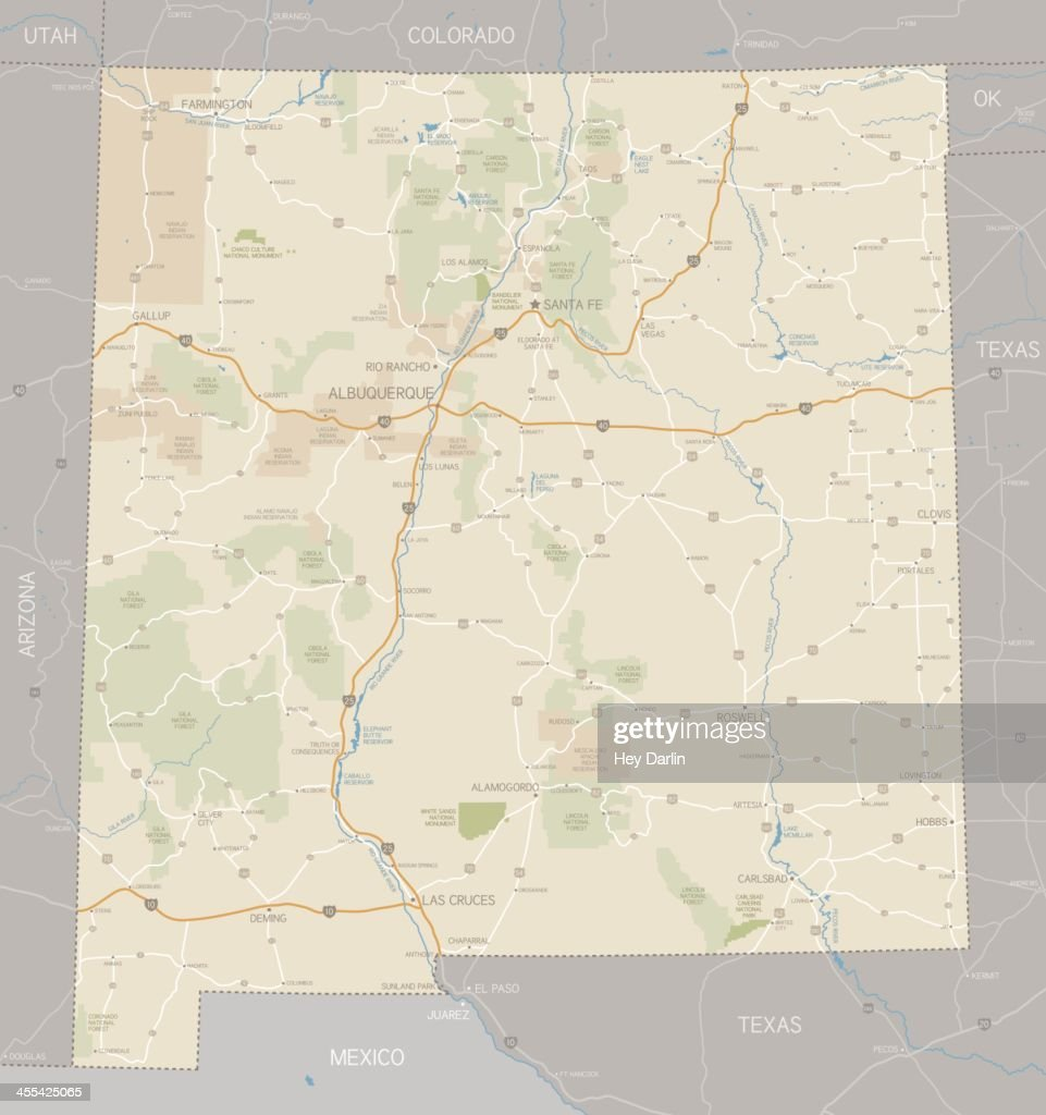 A Road Map Of The State Of New Mexico Vector Art Getty Images