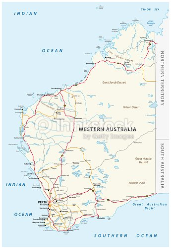 Map Of South Australia And Northern Territory.Road Map Of The Western Australian State Stock Vector Thinkstock