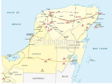 Road Map Of Yucatan With The Main Maya Ruins stock vector ...