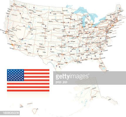 Usa Highway Map On American Flag Background Vector Art Getty Images - Usa road map