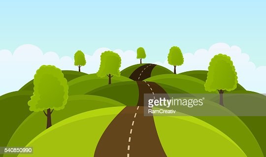 Road on hills among trees and meadows. : stock vector