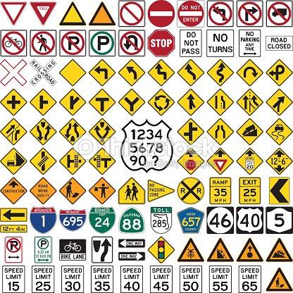 Road Signs And Symbols Vector Art Thinkstock
