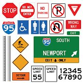 Road signs illustration on a white background