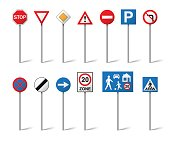 Road signs set isolated on white background. Vector illustration