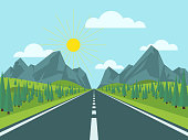 Mountain landscape with hills and trees. Road to mountains. Vector illustration flat style.