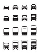 Road transportation vehicles in front - vector illustration