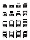 Road transportation vehicles in front - vector illustration