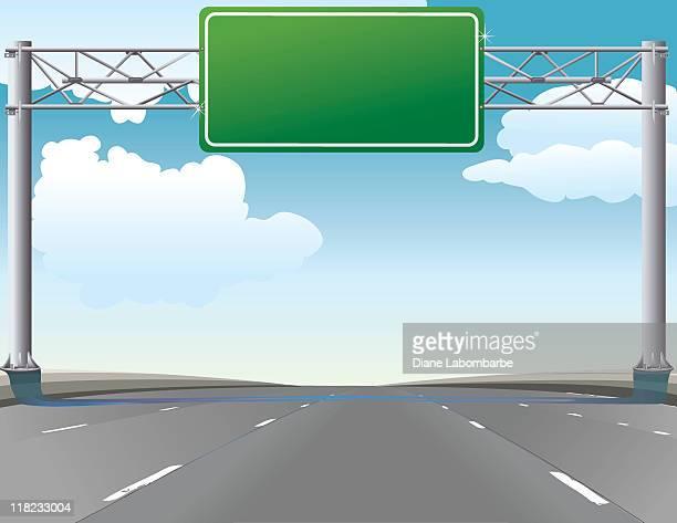 Viaje por carretera-típico de la autopista verde señal de sobrecarga