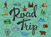 Roadtrip poster with a stylized map with points of interest and sighseeing for travelers like city, old castle, monastery, fan fair, beach, sea, forest, mountain, zoo, camping place, biking and hiking